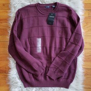 IZOD Knit Crewneck Window Pane Pullover Sweater